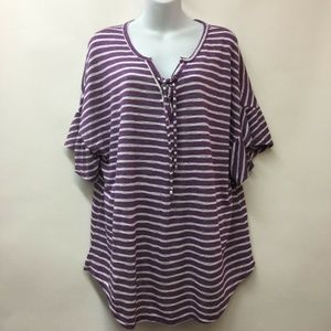 Lane Bryant 18 20 Purple Womens Top Shirt Stretch